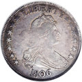Early Half Dollars: , 1806 50C Pointed 6, Stem. O-118a, R.3. XF40 NGC. The branch cracksbeneath the arrows claw now each have branch cracks of t...