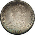 Bust Half Dollars: , 1808/7 50C MS61 NGC. O-101, R.1. This 1808/7, the first overdate inthe Capped Bust half series, possesses sheer knockout e...