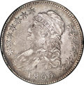 Bust Half Dollars: , 1809 50C XXX Edge AU50 NGC. O-102. R.1. Warmly and attractivelytoned in intermingled hues of gold, lilac-gray, and blue. T...