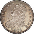 Bust Half Dollars: , 1809 50C III Edge XF45 NGC. O-107. R.3. Warm gunmetal gray surfacesexhibit delicate gold, blue, and violet iridescent high...
