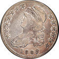 Bust Half Dollars: , 1809 50C III Edge VF30 NGC. O-109A. R.2. Mostly pale gold toningwith blushes and wisps of blue and violet. Very nice eye a...