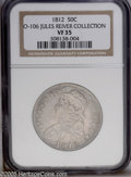 Bust Half Dollars: , 1812 50C VF35 NGC. O-106, R.3. This fairly worn coin shows onlyslight signs of the die breaks that would later become so d...