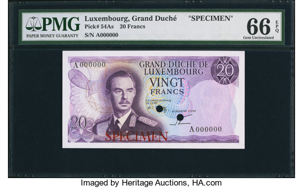 World Currency Luxembourg Grand De 20 Francs Nd 1966 Pick 54pecimen