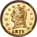 California Fractional Gold , 1872 25C Washington Round 25 Cents, BG-818, Low R.4, MS66 NGC....
