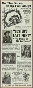 """Movie Posters:Western, Custer's Last Fight (New York Motion Picture Corporation, R-1926). Herald (8"""" X 22"""") DS. Western.. ..."""