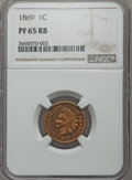 Proof Indian Cents: , 1869 1C PR65 Red and Brown NGC. NGC Census: (37/5). PCGS Population: (45/13). CDN: $900 Whsle. Bid for problem-free NGC/PCG...