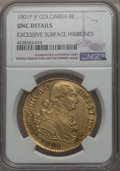 Colombia, Colombia: Charles IV gold 8 Escudos 1801 P-JF UNC Details (Excessive Surface Hairlines) NGC,...