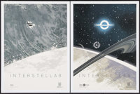 """Interstellar (Paramount, 2014). IMAX Exclusive Posters (2) (12"""" X 16"""") Tidal Wave & Black Hole Styles..."""