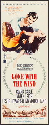 """Gone with the Wind (MGM, R-1961). Insert (14"""" X 36""""). Academy Award Winners"""