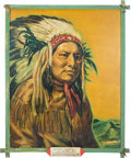 "Original Comic Art:Paintings, Paul von Klieben ""Chief White Horse"" Ghost Town Painting (1946)....(Total: 2 Items)"