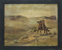"Paul von Klieben ""Under Attack"" Ghost Town Painting (c. 1940s-50s)"