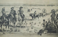 "Original Comic Art:Miscellaneous, ""Western Wagon Train"" Ghost Town Print (c. 1940s)...."
