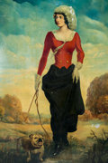"""Original Comic Art:Paintings, """"Countryside Lady with Bulldog"""" Ghost Town Painting (c.1940s-50s)...."""