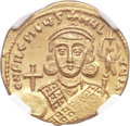 Ancients:Byzantine, Ancients: Philippicus (Bardanes) (AD 711-713). AV solidus (21mm, 4.39 gm, 6h). NGC MS 4/5 - 3/5....