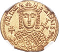 Ancients:Byzantine, Ancients: Irene, as sole ruler (AD 797-802). AV solidus (20mm, 4.42 gm, 6h). NGC MS 5/5 - 5/5....