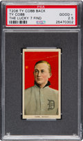 Baseball Cards:Singles (Pre-1930), 1909-11 T206 Ty Cobb Portrait Red Background with Ty Cobb Back(Lucky 7 Find) PSA Good+ 2.5. ...