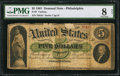 Large Size:Demand Notes, Fr. 2 $5 1861 Demand Note PMG Very Good 8 Net.. ...