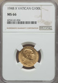 Vatican City, Vatican City: Pius XII gold 100 Lire 1948-R (Year X) MS66 NGC,...