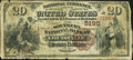 National Bank Notes:Kentucky, Louisville, KY - $20 1882 Brown Back Fr. 504 The Southern NB Ch. #5195. ...