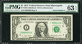 Small Size:Federal Reserve Notes, Serial Number 1 Fr. 1909-I $1 1977 Federal Reserve Note. PMG Choice Uncirculated 63 EPQ.. ...