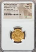 Ancients:Byzantine, Ancients: Justin II (565-578). AV solidus (4.51 gm). NGC MS 5/5 -4/5....