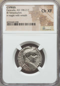 Ancients:Roman Provincial , Ancients: CYPRUS. Caracalla (AD 198-217). BI tetradrachm. NGCChoice XF....