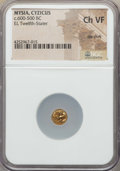 Ancients:Greek, Ancients: MYSIA. Cyzicus. Ca. 600-500 BC. EL 1/12-stater. NGCChoice VF, die shift....
