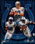 Football Collectibles:Photos, Peyton Manning, Marvin Harrison & Edgerrin James SignedOversized Photograph....