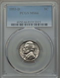 Jefferson Nickels, (5)1953-D 5C MS66 PCGS. PCGS Population: 321 in 66 (5 in 66+), 3 finer (11/16).... (Total: 5 coins)