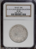 Bust Half Dollars: , 1814/3 50C VF30 NGC. O-101a, R.2. Moderately worn with light-graysurfaces that have slight amounts of speckled russet and ...