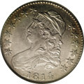 Bust Half Dollars: , 1814/3 50C AU50 NGC. O-101a, R.2. A popular variety, the top of theunderdigit shows plainly on either side of the 4. Also ...