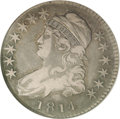 Bust Half Dollars: , 1814 50C VF25 NGC. O-104a, R.1. Layers of rich toning adorn theobverse and reverse surfaces of this moderately worn exampl...