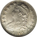 Bust Half Dollars: , 1814 50C E Over A AU58 NGC. O-108a, R.1. The E in STATES, along theupper reverse rim, is cut over a previous letter A. Sof...