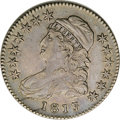 Bust Half Dollars: , 1817/3 50C AU53 NGC. O-101a, R.2. From a later state of the dieswith a crack from the rim above M down across ME, the tip ...