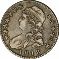 Bust Half Dollars: , 1818/7 50C Large 8 XF40 NGC. O-101. R.1. Pearl gray toning on thehighpoints deepens to gunmetal gray in the fields. Wisps ...