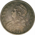 Bust Half Dollars: , 1818/7 50C Large 8 XF40 NGC. O-103. R.3. Gunmetal gray surfaceswith pale blue, violet, and golden-brown highlights. The re...