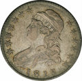 Bust Half Dollars: , 1818/7 50C Large 8 VF30 NGC. O-103. R.3. Gunmetal gray surfaces.The obverse die state is advanced with most of the milling...