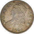 Bust Half Dollars: , 1820 50C Square Base No Knob 2, Large Date AU55 NGC. O-108, R.2.Star 5 is recut and recutting shows on the lower leaves on...