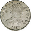 Bust Half Dollars: , 1821 50C VF35 NGC. O-104, R.1. An earlier die state with none ofthe die cracks that are listed for the 104a die state. The...