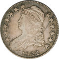 Bust Half Dollars: , 1822/1 50C VF35 NGC. O-101, R.1. Medium-dark gray toning coverseach side with nearly brilliant highlights where the signs ...