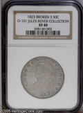 Bust Half Dollars: , 1823 50C Broken 3 XF40 NGC. O-101, R.3. Irregularly toned, withbronze highpoints and aqua, silver, and gray protected area...