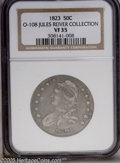 Bust Half Dollars: , 1823 50C VF35 NGC. O-108, R.2. This variety has the 23 larger thanthe 18, and the 3 has a very large, broad upper curl. St...