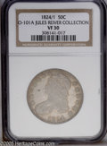 Bust Half Dollars: , 1824/1 50C VF30 NGC. O-101a, R.2. The upper serif of the 1 in theoverdate is clear on this coin, but slight traces remain ...