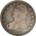 Bust Half Dollars: , 1825 50C VG10 NGC. O-104, R.4. The dies were rotatedcounterclockwise by approximately thirty-five degrees. There is agene...