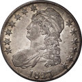 Bust Half Dollars: , 1827/6 50C AU50 NGC. O-102, R.1. A well struck overdate with theunderlying digit easily visible to the naked eye. This spe...