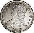 Bust Half Dollars: , 1827/6 50C AU55 NGC. O-102, R.1. The underdigit 6 is bold, withcurves above and to the right of the prominent 7. This esse...