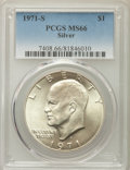 Eisenhower Dollars, 1971-S $1 Silver MS66 PCGS. PCGS Population: (4759/550). NGC Census: (1369/122). Mintage 2,600,000....