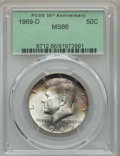 Kennedy Half Dollars, 1969-D 50C MS66 PCGS. PCGS Population: (232/9). NGC Census:(151/4). Mintage 129,881,800. ...