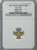 California Fractional Gold: , 1867 50C Liberty Round 50 Cents, BG-1018, High R.4, MS61 ProoflikeNGC. NGC Census: (1/4). ...