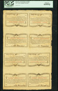 Colonial Notes:New York, New York March 5 , 1776 (Water Works) 8s Uncut Sheet of Eight PCGSChoice New 63PPQ.. ...